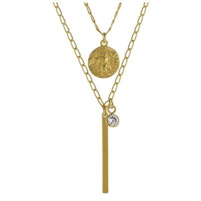 trendor 08997 Halskette für Damen 925 Silber Goldplattiert Zirkonias 4260497089971