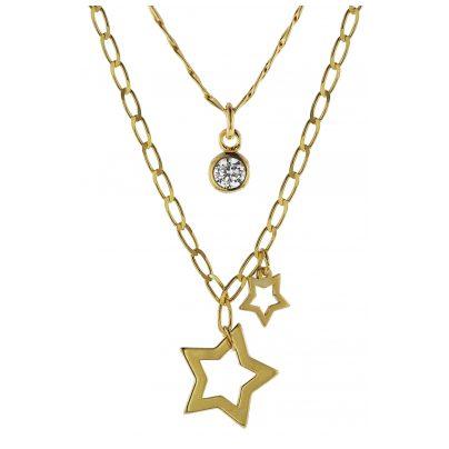 trendor 08998 Halskette mit Anhängern 925 Silber Goldplattiert 2-reihig 4260497089988