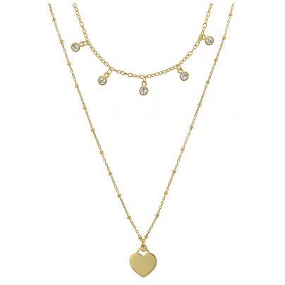 trendor 75065 Halskette für Damen 925 Silber Goldplattiert 2-reihig Zirkonias 4260641750658