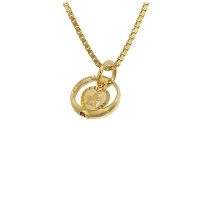 trendor 75119 Christening Ring Ruby Cupid Heart Gold 585 on Gold Plated Chain 4260641751198