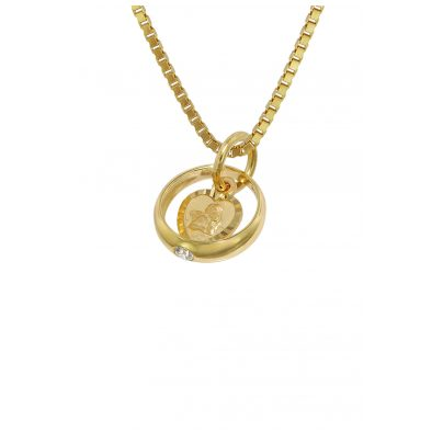 trendor 75120 Christening Ring Pendant Gold 585 on Gold Plated Necklace 4260641751204