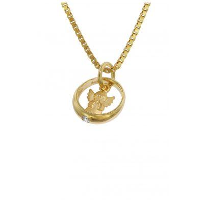 trendor 75123 Taufring mit Engelchen Gold 585 an goldplattierter Kette 4260641751235