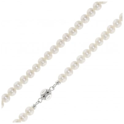 trendor 75207 Perlenkette Süßwasser-Zuchtperlen 6 mm Magnetverschluss Silber
