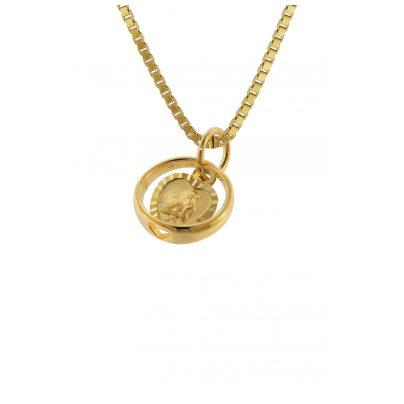 trendor 75260 Taufring mit Engel-Herz Gold 585 (14 Karat) mit Silberkette 4260641752607