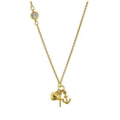 trendor 75291 Damen-Halskette 925 Silber Goldplattiert Glaube-Liebe-Hoffnung 4260641752911