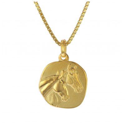 trendor 75322 Anhänger Pferde Gold 333 (8 Karat) mit Vergoldeter Silberkette 4260641753222