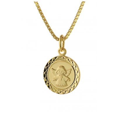 trendor 75323 Engel-Anhänger für Kinder Gold 585 (14 Karat) Vergoldete Kette 4260641753239