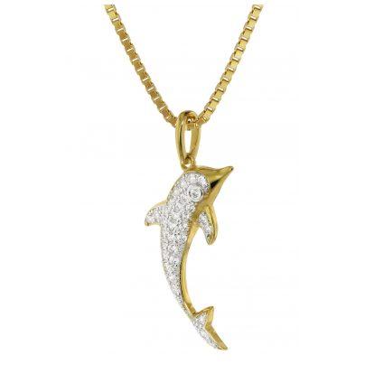 trendor 75351 Pendant Dolphin Gold 585 / 14K Cubic Zirconia