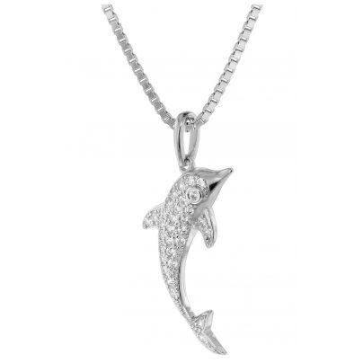 trendor 75352 Pendant Dolphin White Gold 585 / 14K Cubic Zirconia