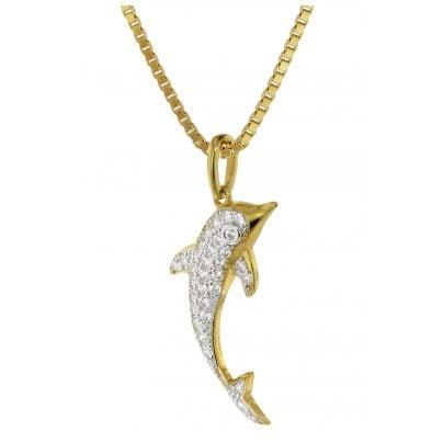 trendor 75353 Delfin-Anhänger mit Diamanten Gold 585 / 14 K