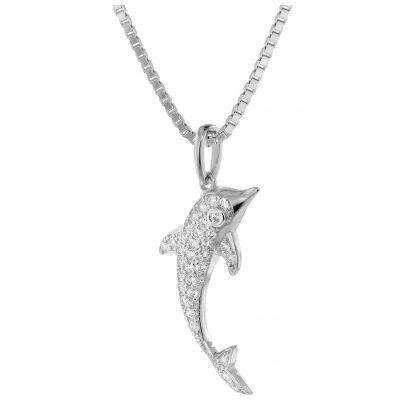 trendor 75354 Anhänger Delfin mit Diamanten Weißgold 585 / 14K