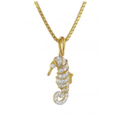 trendor 75357 Anhänger Seepferdchen mit Diamanten Gold 585 / 14 Karat
