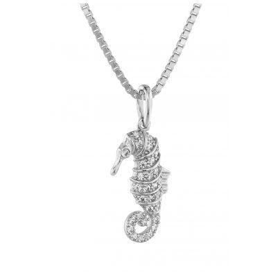 trendor 75358 Seepferdchen-Anhänger mit Diamanten Weißgold 585 / 14K