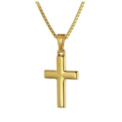trendor 75421 Kreuz für Kinder 18 mm Gold 333 / 8 Karat mit vergoldeter Kette