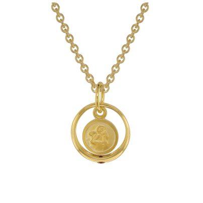 trendor 75398 Taufring Rubin Engel Gold 585 / 14 Karat mit vergoldeter Kette