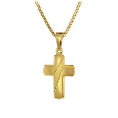 trendor 75451 Kreuz-Anhänger für Kinder Gold 333 / 8K mit vergoldeter Kette