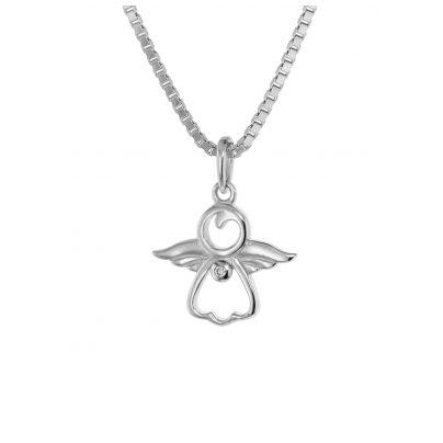 trendor 75455 Engel-Anhänger mit Diamant Weißgold 585 / 14 K mit Silberkette