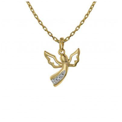 trendor 75467 Halskette mit Diamant-Engel Anhänger Gold 585 / 14K 4260641754670