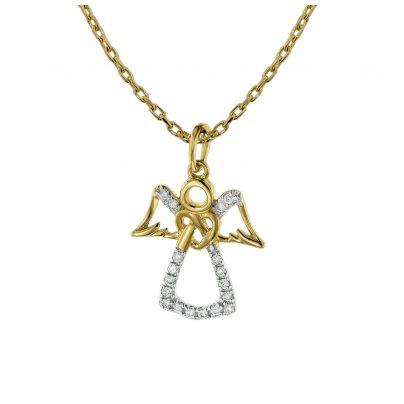 trendor 75477 Halskette mit Engel-Anhänger 18 Diamanten Gold 585 / 14 K 4260641754779