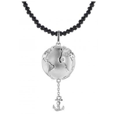 trendor 75497 Anhänger Planet Erde Silber 925 + Spinell-Kette Schwarz 4260641754977