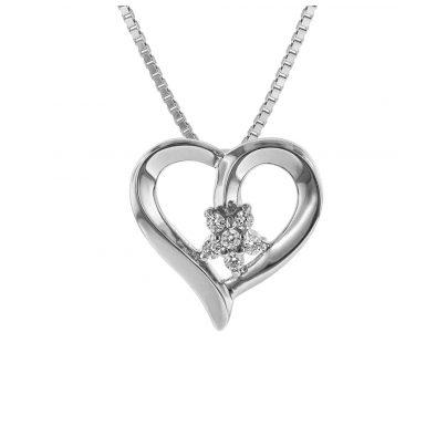 trendor 75503 Anhänger Blütenherz mit Halskette Silber 925 4260641755035
