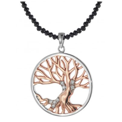 trendor 75515 Tree of Life Pendant Silver 925 + Spinel Black Necklace 4260641755158