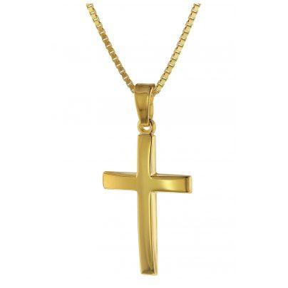 trendor 75547 Kreuz Anhänger 750 Gold + goldplattierte Halskette