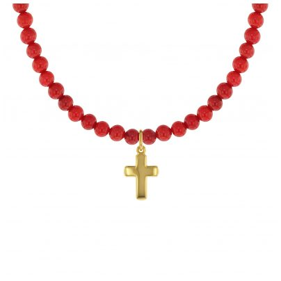 trendor 75557 Girl's Necklace Bamboo Coral Red with Gold Cross 333 4260641755578