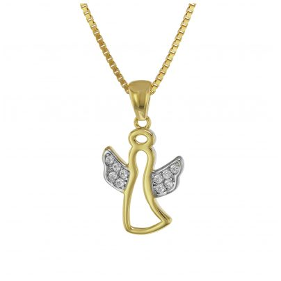 trendor 75558 Engel-Anhänger mit Zirkonia Gold 333 + vergoldete Silberkette 4260641755585
