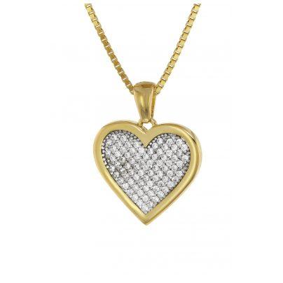 trendor 75560 Herz-Anhänger Gold 333 + vergoldete Silberkette 4260641755608