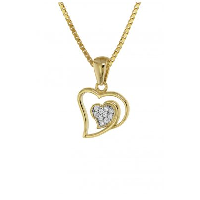 trendor 75561 Heart Pendant Gold 333 / 8 carat & Gold Plated Silver Necklace 4260641755615