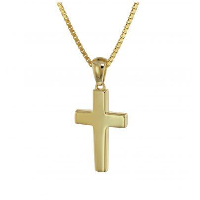 trendor 75563 Kreuz-Anhänger Gold 333 / 8 Karat mit vergoldeter Silberkette 4260641755639