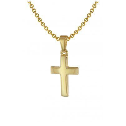 trendor 75692 Kreuz Anhänger für Kinder Gold 333 + Halskette Silber vergoldet