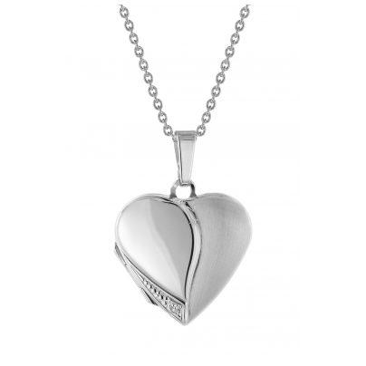 trendor 75734 Damen Medaillon Herz mit Halskette Silber 925