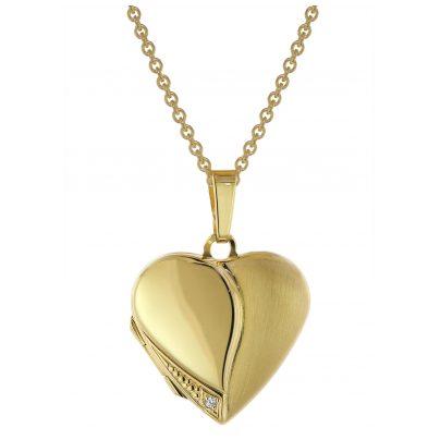 trendor 75738 Medaillon Herz mit Damen-Halskette Gold auf Silber 925