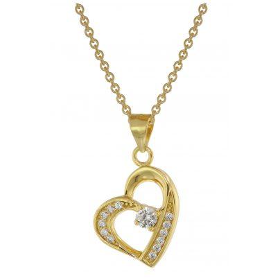trendor 75847 Herz-Anhänger mit Halskette für Damen Gold auf Silber Zirkonia