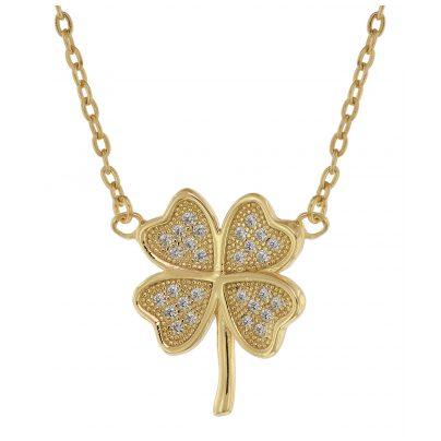 trendor 75488 Damen-Halskette mit Kleeblatt Gold auf Silber mit Zirkonias 4260641758487