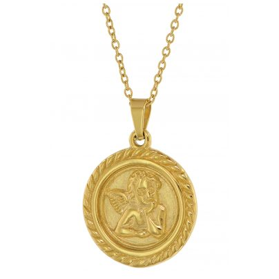 trendor 75884 Angel Pendant Ladies' Necklace Gold Plated Steel Anchor Chain 4260641758845