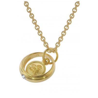 trendor 75954 Halskette mit Amor-Taufring Gold auf Silber