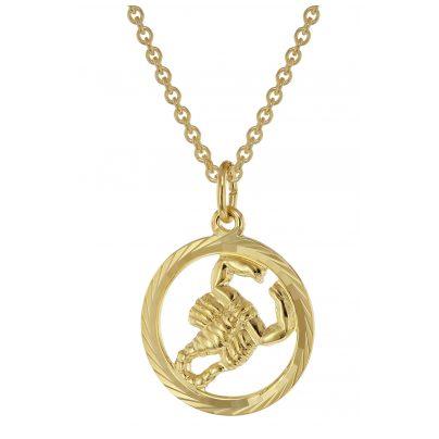 trendor 75940-11 Sternzeichen Skorpion Gold 333 Anhänger Ø 16 mm + Halskette 4260641759477