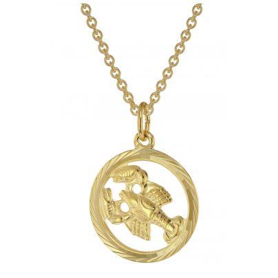 trendor 75940-07 Sternzeichen Krebs Gold 333 Anhänger Ø 16 mm + Halskette 4260641759439