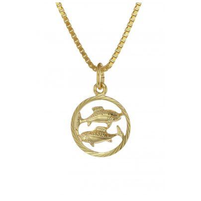 trendor 75990-03 Kinder Sternzeichen Fische 333 Gold + goldplattierte Kette 4260641759880