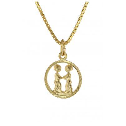 trendor 75990-06 Sternzeichen Zwilling 333 Gold + goldplattierte Kinder-Kette 4260641759910
