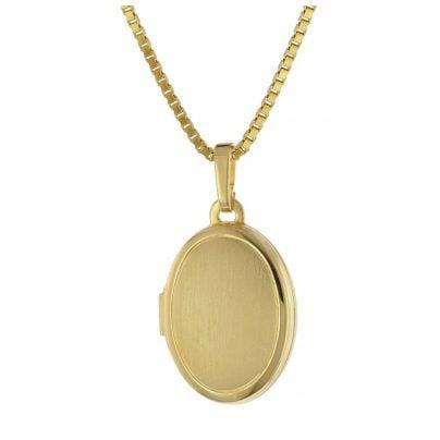 trendor 75973 Medaillon 333 Gelbgold mit Vergoldeter Silberkette 4260641759736