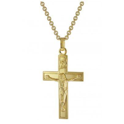 trendor 39042 Kreuz Halskette für Männer Gold auf Silber 925