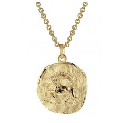 trendor 39070-01 Steinbock Sternzeichen Ø 20 mm Herrenkette Gold auf Silber