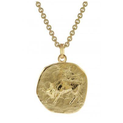 trendor 39070-05 Stier Sternzeichen Anhänger Herren-Halskette Gold auf Silber