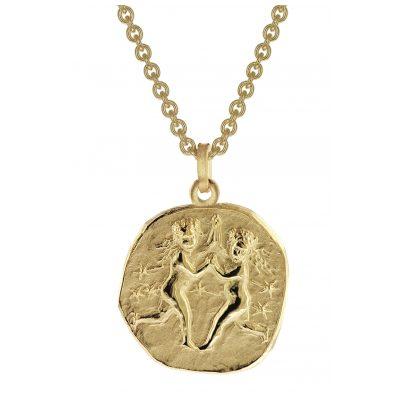 trendor 39070-06 Zwilling Sternzeichen Anhänger Herrenkette Gold auf Silber
