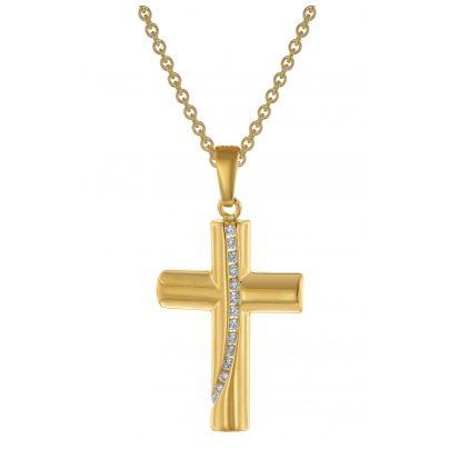 trendor 39335 Damen-Kette mit Kreuz-Anhänger Gold auf Silber 925 Zirkonia