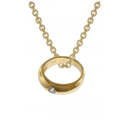 trendor 39475 Anhänger Taufring Gold 333 mit goldplattierter Silberkette